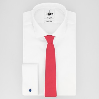 Coral Pink Slim tie in Silk - Côme