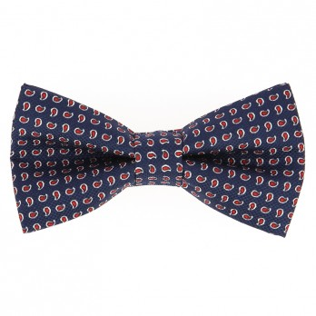 Navy Blue Bow Tie with Red Paisley Pattern in Printed Silk