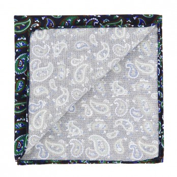 Navy Blue Pocket Square with Green Paisley Pattern in Printed Silk