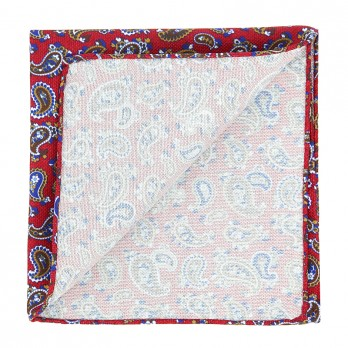Red Pocket Square with Paisley Pattern in Printed Silk