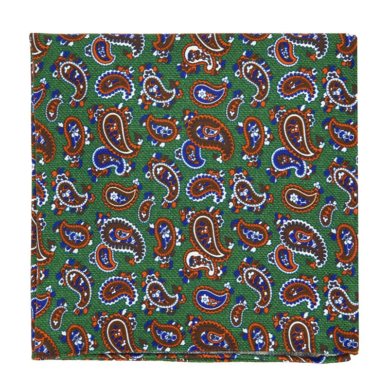 Green Pocket Square with Orange Paisley Pattern in Printed Silk