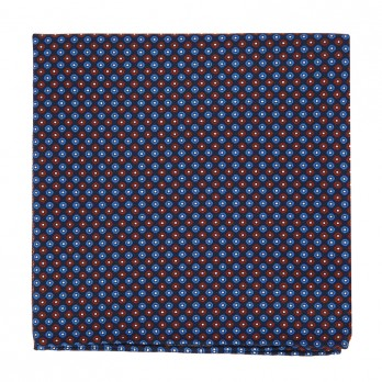 Navy Blue Pocket Square with Burgundy Dots in Printed Silk