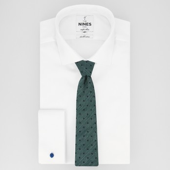 Green Tie with Navy Blue Dots in Jaspe Silk