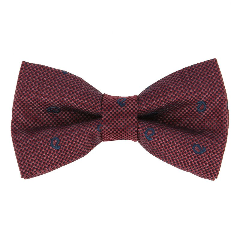 Burgundy Bow Tie with Navy Blue Paisley Pattern in Jaspe Silk