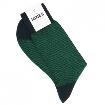 Dark green cotton lisle socks with english green houndstooth pattern