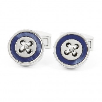Mineral Blue Button Cufflinks - Baltimore