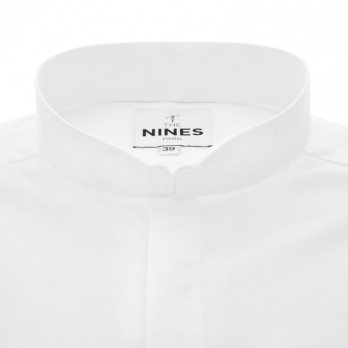 White small reverse collar shirt in combed yarn