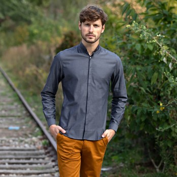 Anthracite grey reverse collar oxford shirt