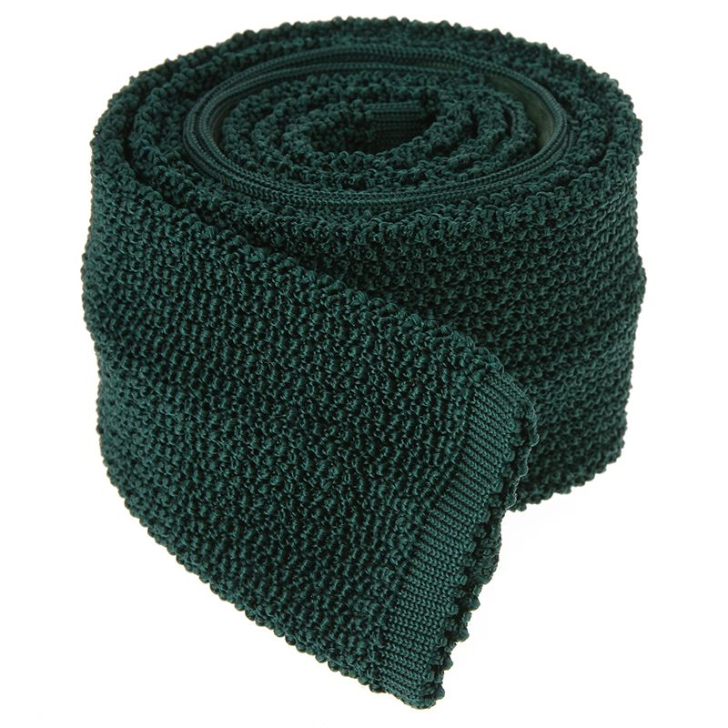 Dark Green Knit Tie - Crunchy