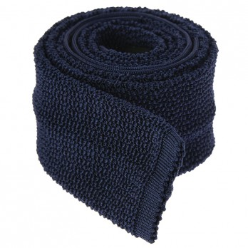 Navy Blue Knit Tie - Crunchy