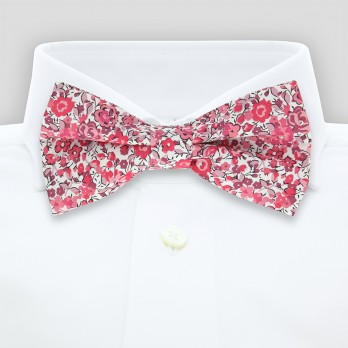 Pink Liberty bow tie with flowers - Peony