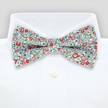 Aqua Liberty bow tie with flowers - Wildflower