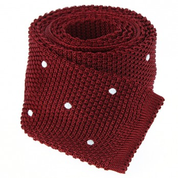 Garnet red knit tie with white polka dots