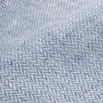 Linen scarf with herringbone pattern blue