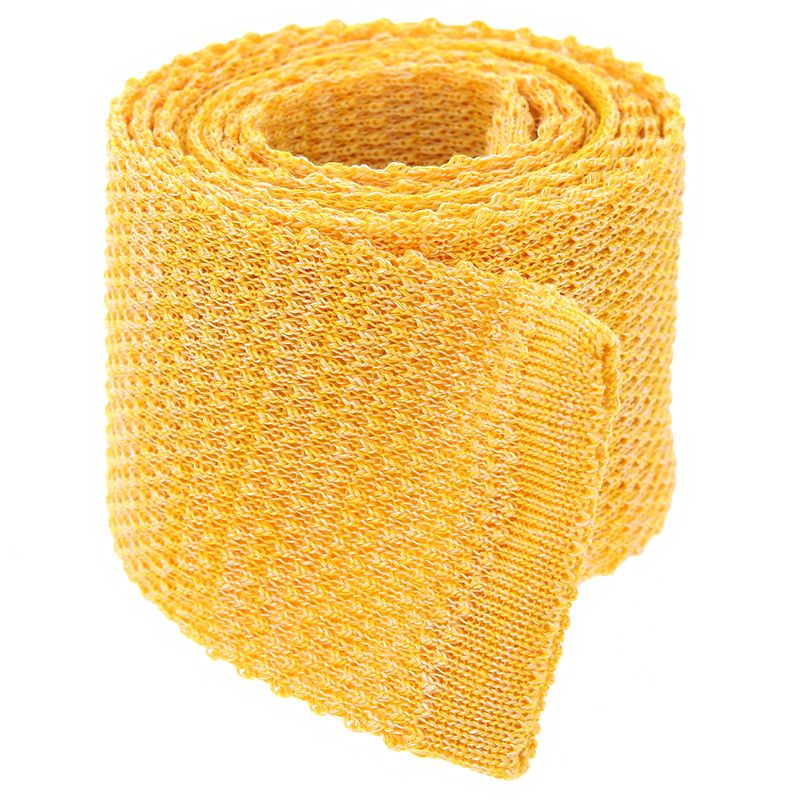Cravate tricot lin chiné jaune
