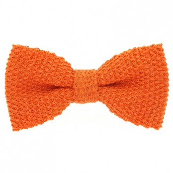 Noeud papillon tricot lin chiné orange