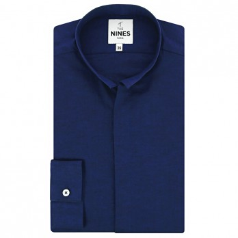 Reverse collar shirt heathered midnight blue