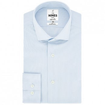 Shark collar shirt with light blue stripes