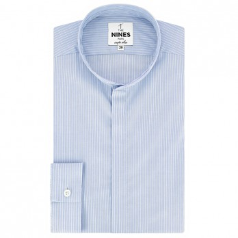 Mandarin collar shirt blue with white pinstripes