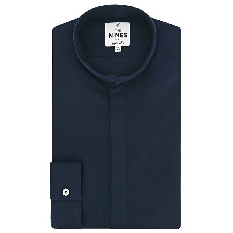 Reverse collar shirt in navy blue flannel