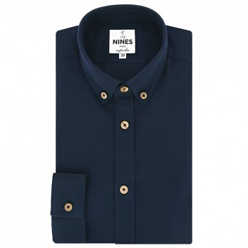 Button-Down-Collar shirt in navy blue flannel