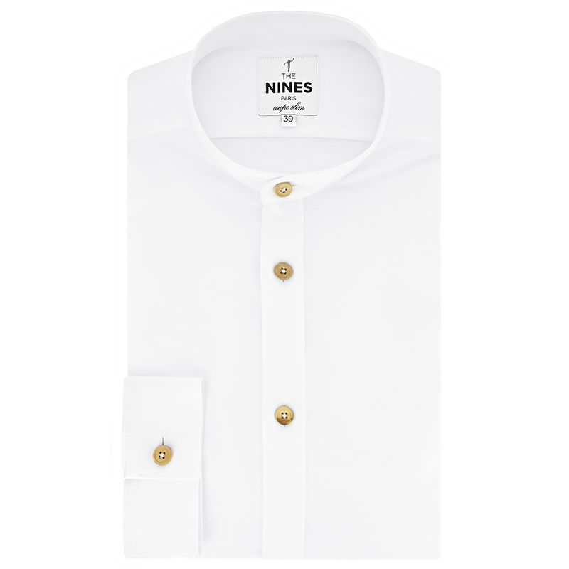 Band collar shirt in white flannel