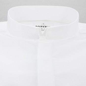 Reverse collar shirt in white oxford