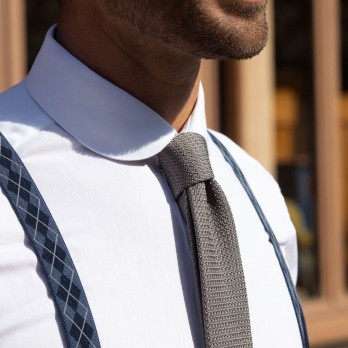 Blue Suspenders with Argyle pattern