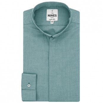 Blue reverse collar shirt oxford