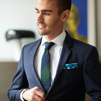 Green and blue pocket square with diamond pattern in linen