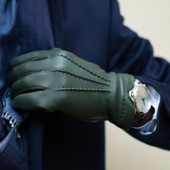 Green deerskin leather gloves sewn and cashmere lining
