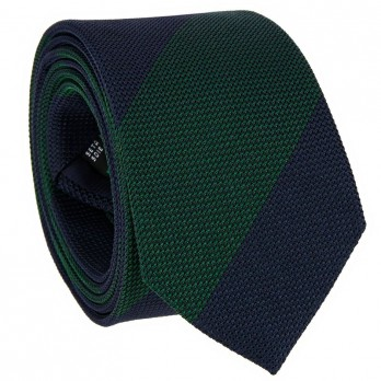 Navy blue grenadine silk tie with green stripes