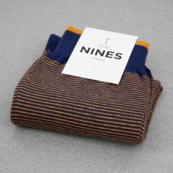 Cotton socks navy blue with yellow stripes