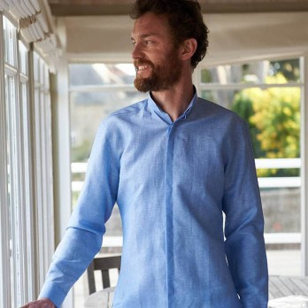 Wool and linen Activewear shirt - reverse collar