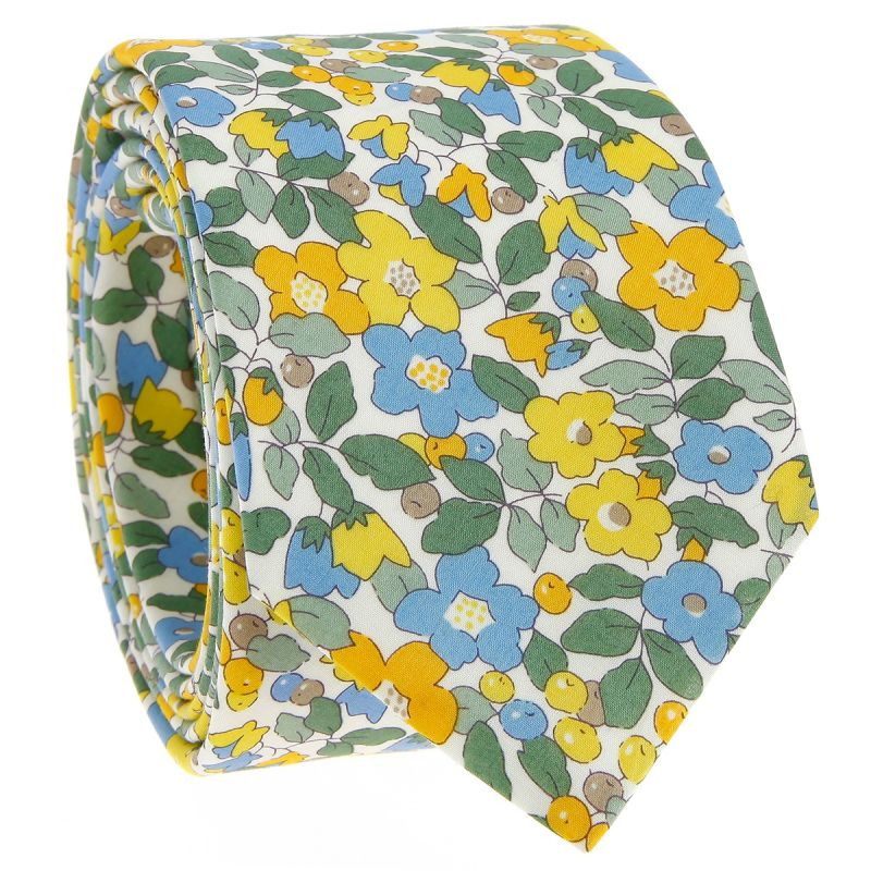 Yellow Liberty tie with flowers - Currant