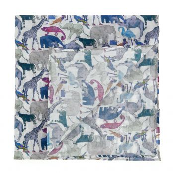 Blue and grey Liberty pocket square with animals prints
