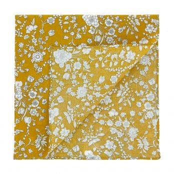 Mustard yellow Liberty pocket square with flowers