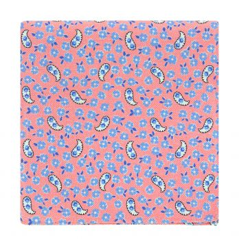 Pink pocket square with flowers and paisley patterns