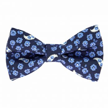 Navy blue bow tie with flowers and paisley