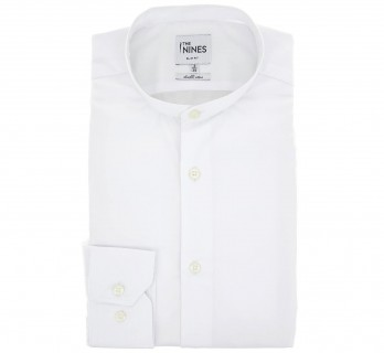 Slim Fit White Two Fold Poplin Stand-Up Collar Button Cuff Shirt