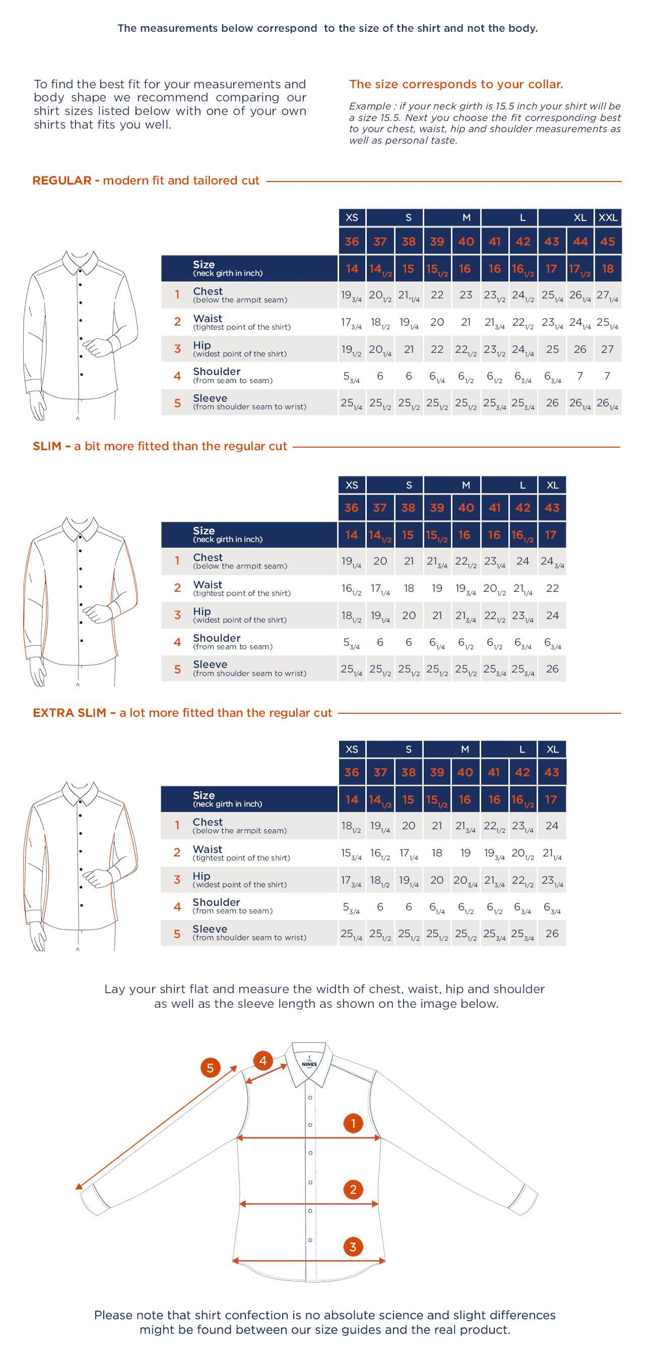 Shirt size guide THE NINES