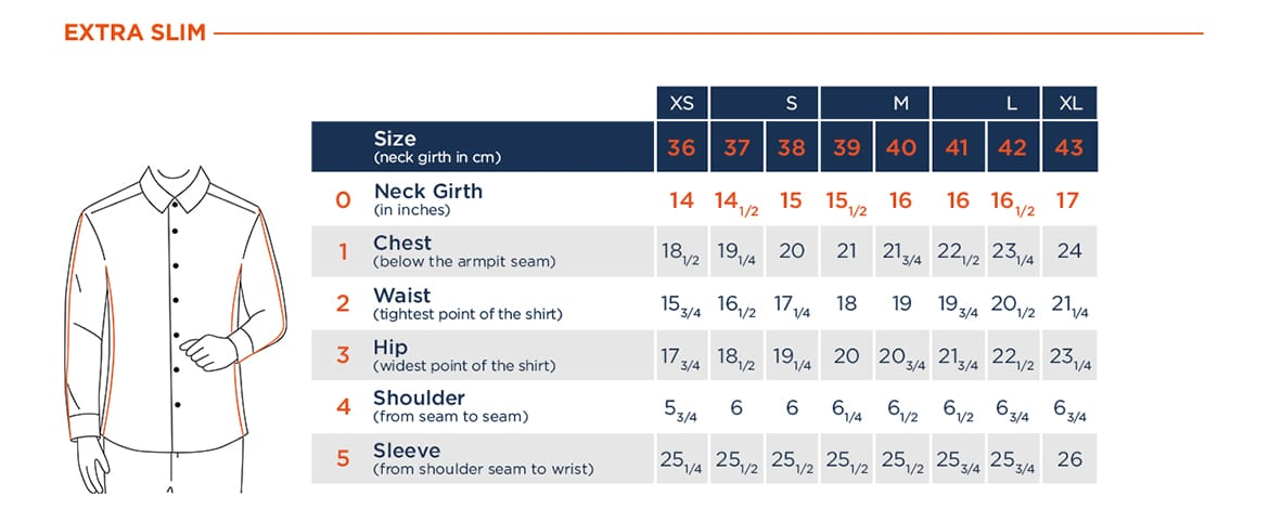 extra-slim fit shirt size chart