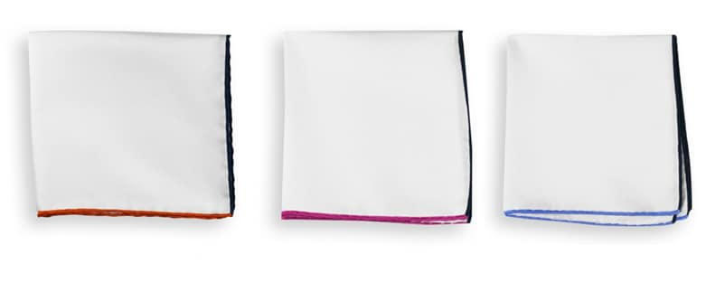 Pochettes blanches ourlets